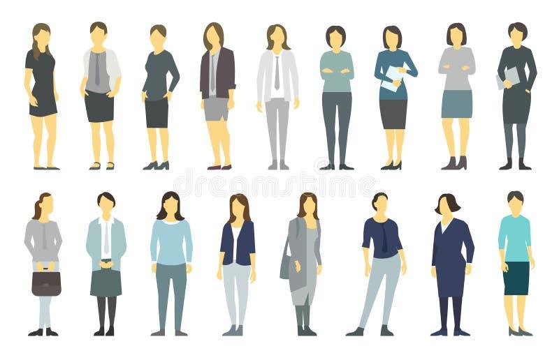 大集合女商人的 夫人管理 Businesswomens身分 工作合作领导 女性着装条例 ?? 向量例证