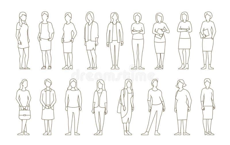 大集合女商人的 夫人管理 Businesswomens身分 工作合作领导 女性着装条例 概述等高 向量例证