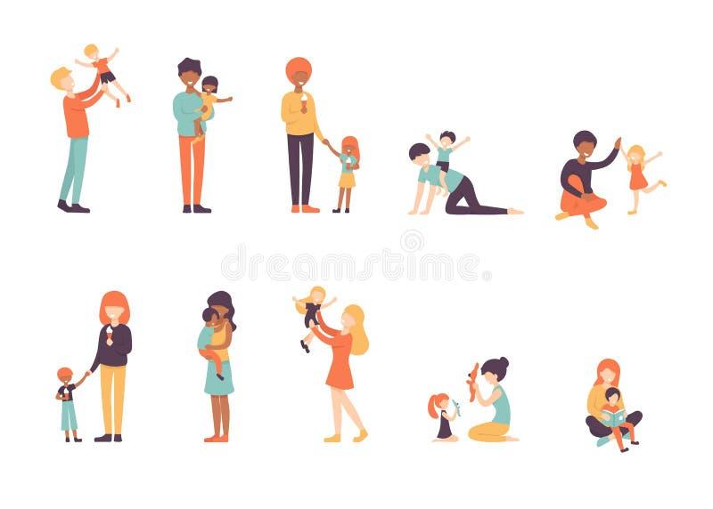 大集合愉快的父母和孩子,家庭 库存例证