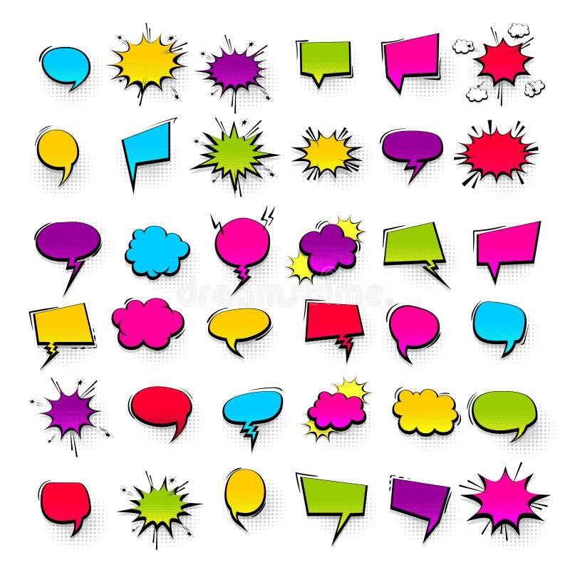 大集合手拉的作用可笑的讲话泡影 向量例证