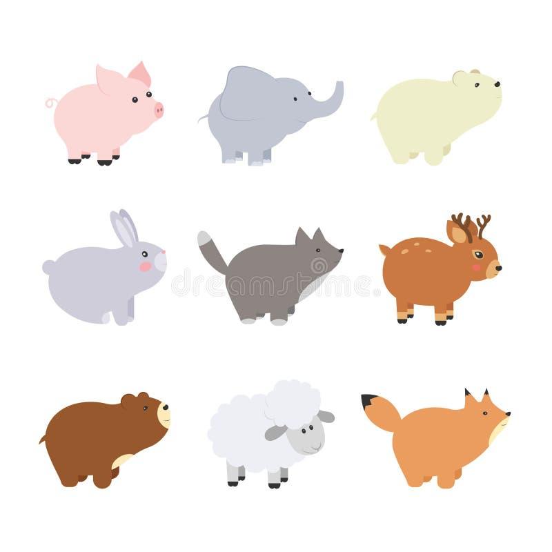 大集合被隔绝的动物 传染媒介汇集滑稽的动物 逗人喜爱的动物森林,农场,国内,极性在动画片样式 猪, eleph 向量例证