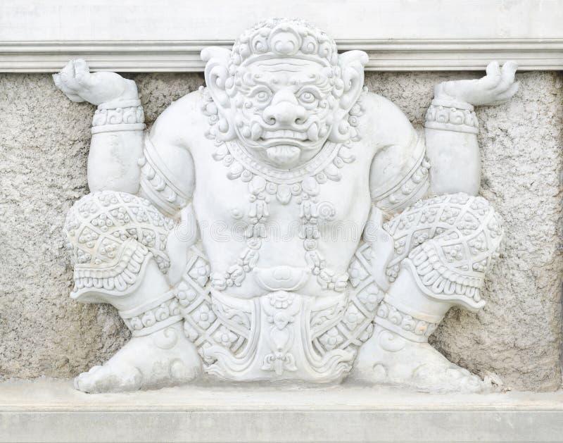 大雕象泰国传统艺术设计在寺庙墙壁的 免版税库存照片