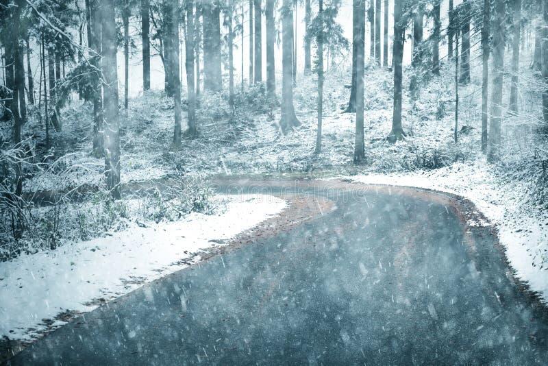 大雪乡下ashpalt路 库存照片