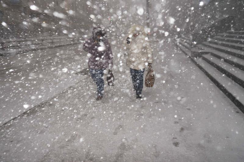 大雪在冬天在城市 免版税库存照片