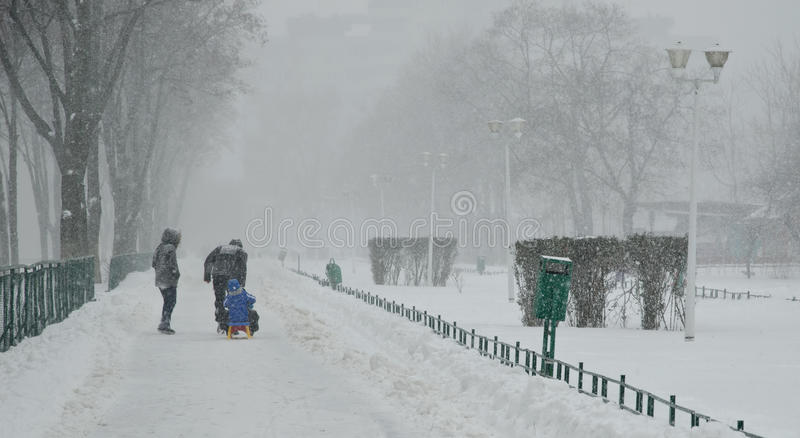 大雪在布加勒斯特 库存照片