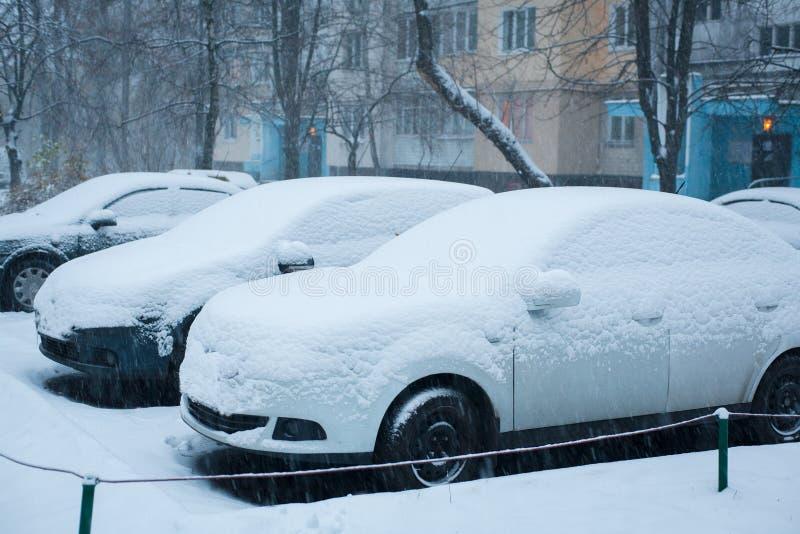 大雪在镇冬天 库存照片