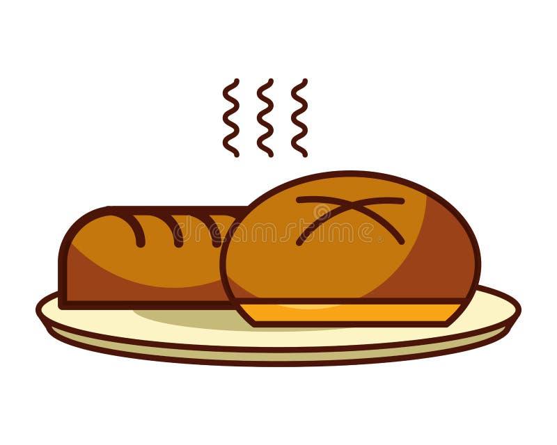 大面包和小圆面包面包新鲜食品面包店 库存例证