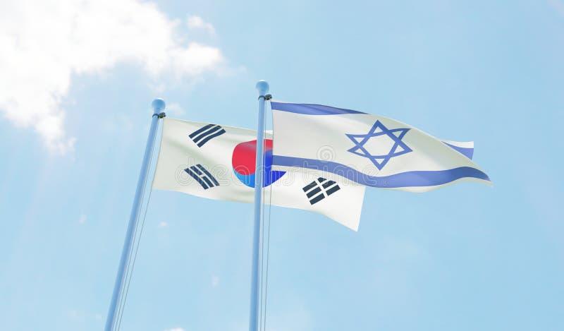 大韩民国和以色列,挥动反对蓝天的两面旗子 库存例证