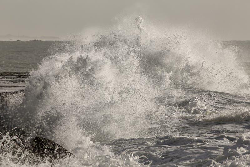 大风雨如磐的波浪飞溅 免版税库存照片