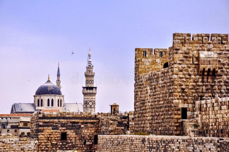 大马士革伟大的Umayyad清真寺和城堡  免版税库存照片