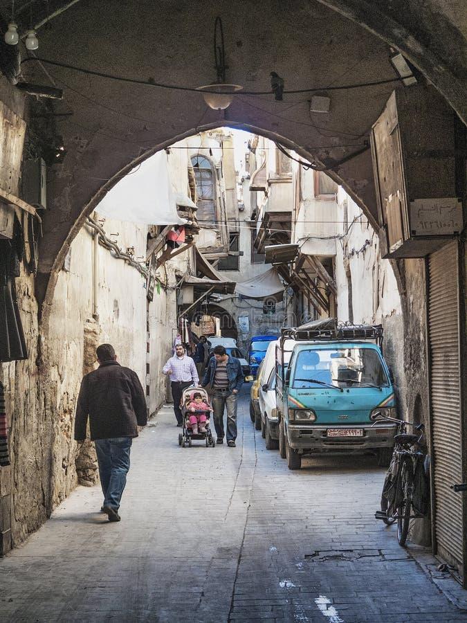 大马士革叙利亚老镇街道的拱道  免版税图库摄影