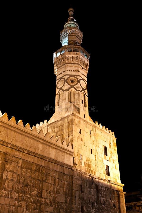 大马士革清真寺叙利亚塔umayyad 库存照片
