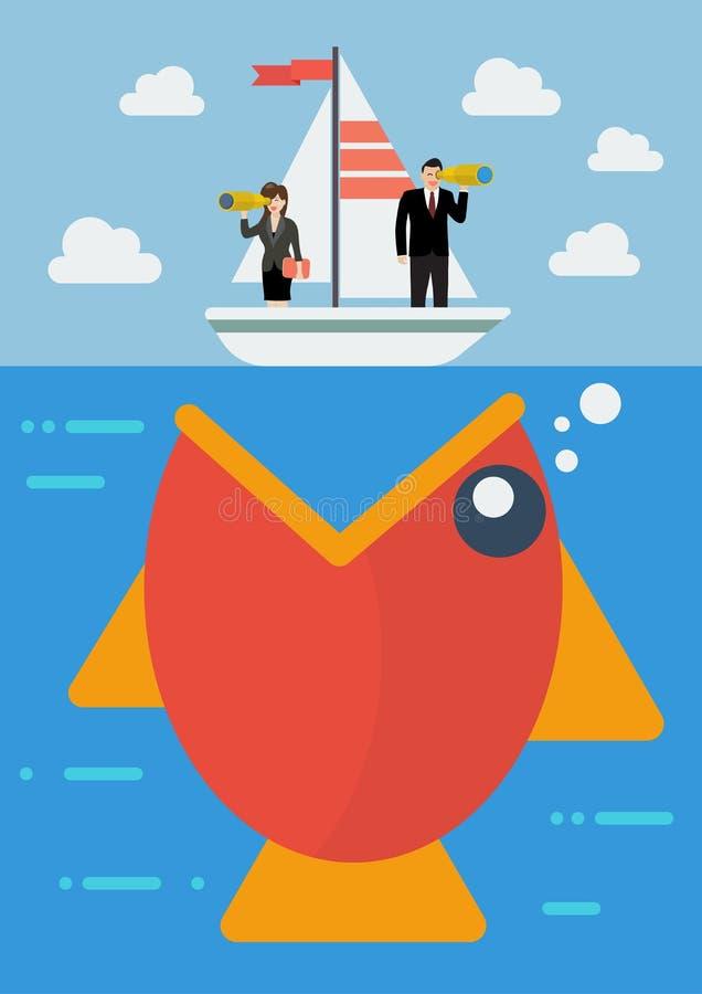 大鱼准备吃小船的粗心大意的商人 向量例证