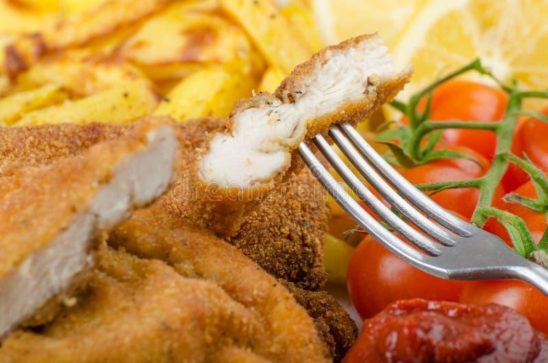 大鸡炸肉排用自创辣椒炸薯条 库存图片