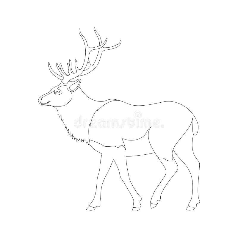 大鹿传染媒介例证线描外形 向量例证