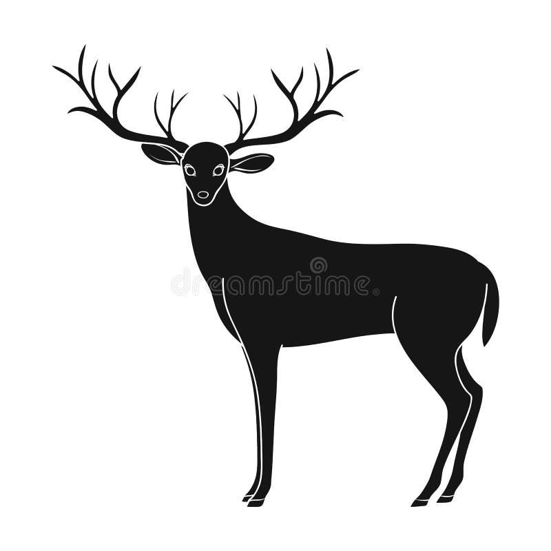 大鹿垫铁 动物选拔在黑样式传染媒介标志股票例证网的象 库存例证
