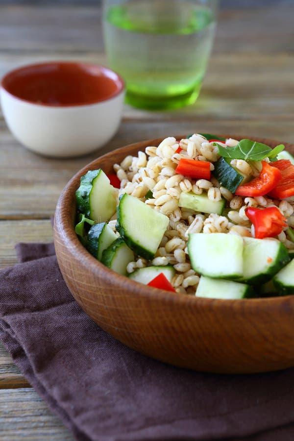 大麦米用黄瓜和胡椒 沙拉 库存图片