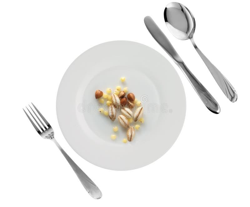 大麦荞麦盘小米珍珠素食主义者 免版税库存照片