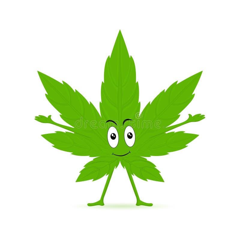 大麻动画片乐趣字符 滑稽的微笑的愉快的大麻杂草绿色叶子面孔 医疗,ganja大麻 r 向量例证