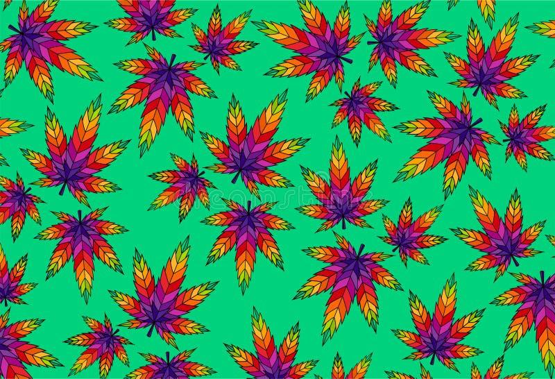 大麻叶子大麻五颜六色的例证ganja样式背景 皇族释放例证