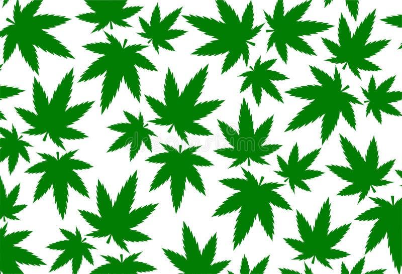 大麻叶子大麻五颜六色的例证ganja样式背景 库存例证