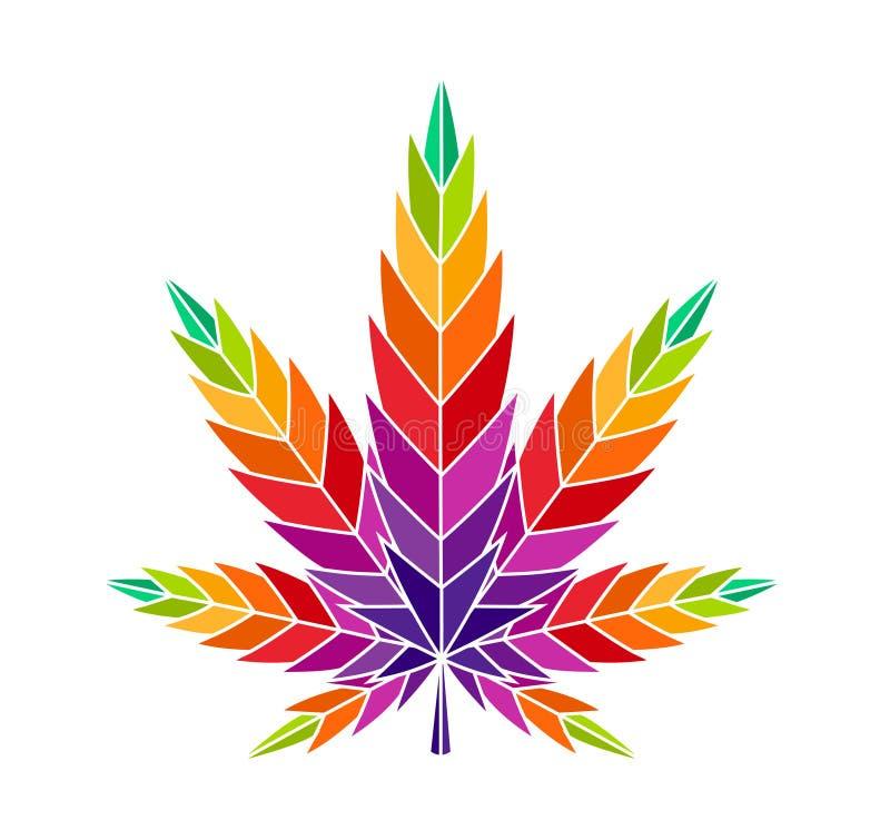 大麻叶子大麻五颜六色的例证ganja 向量例证