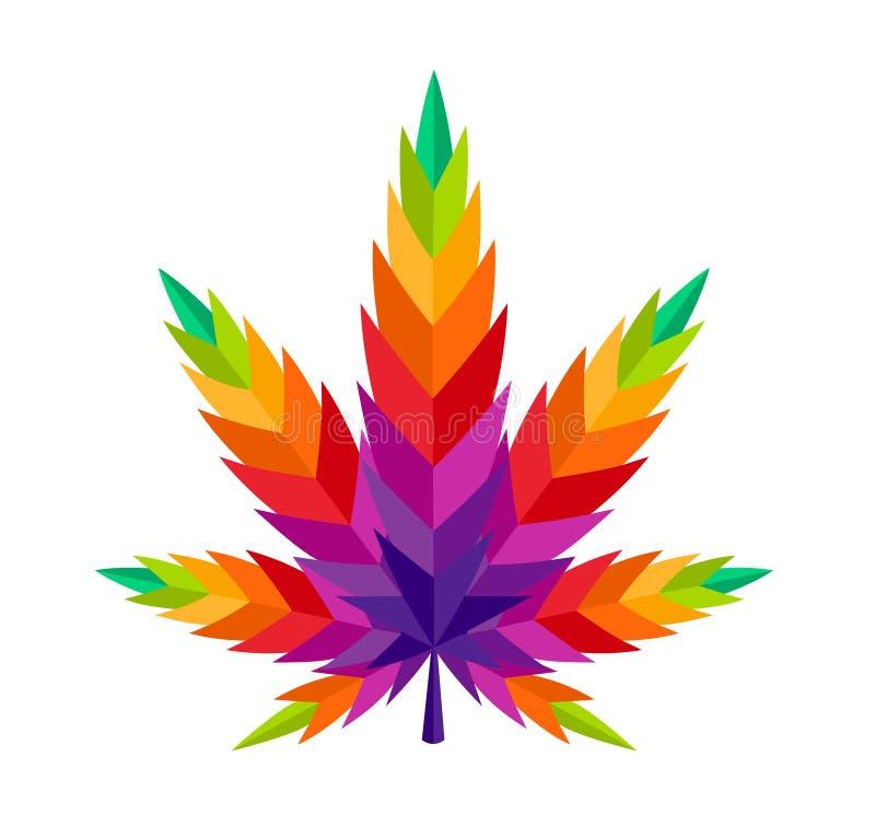 大麻叶子大麻五颜六色的例证ganja 皇族释放例证