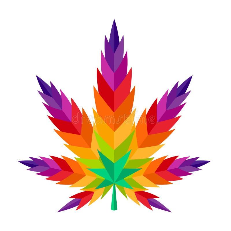 大麻叶子大麻五颜六色的例证ganja 4:20烟杂草 向量例证