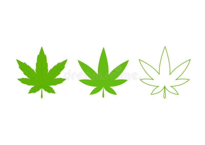 大麻大麻杂草绿色叶子 医疗,ganja大麻 : 向量例证
