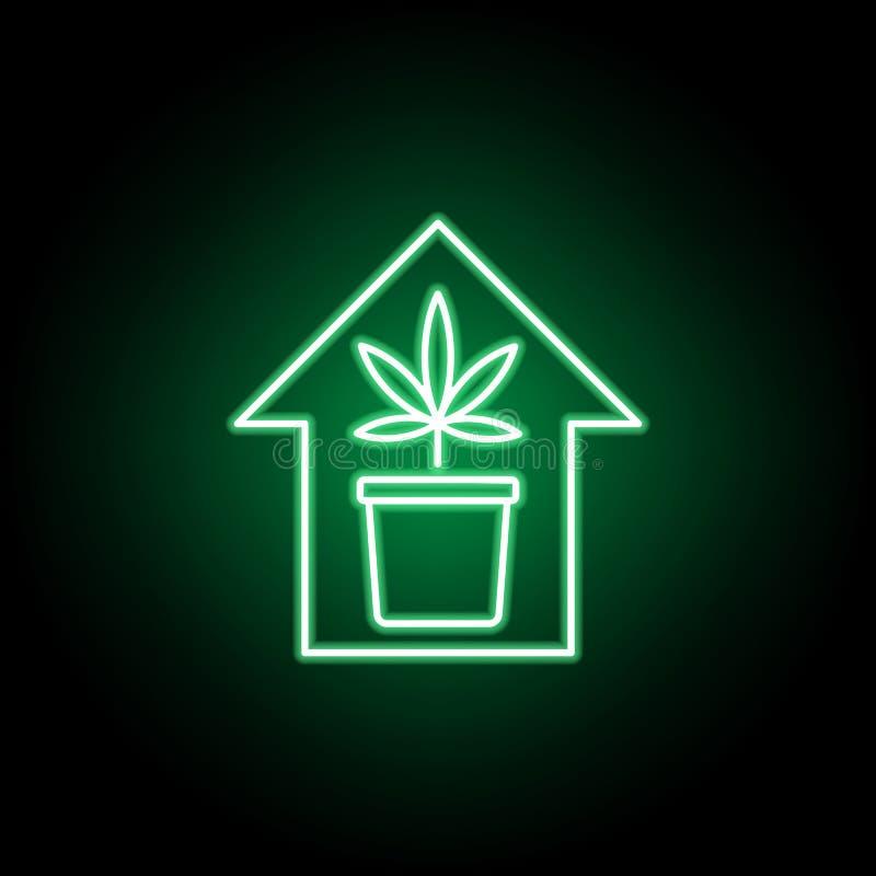大麻房子在霓虹样式的概述象 E 皇族释放例证