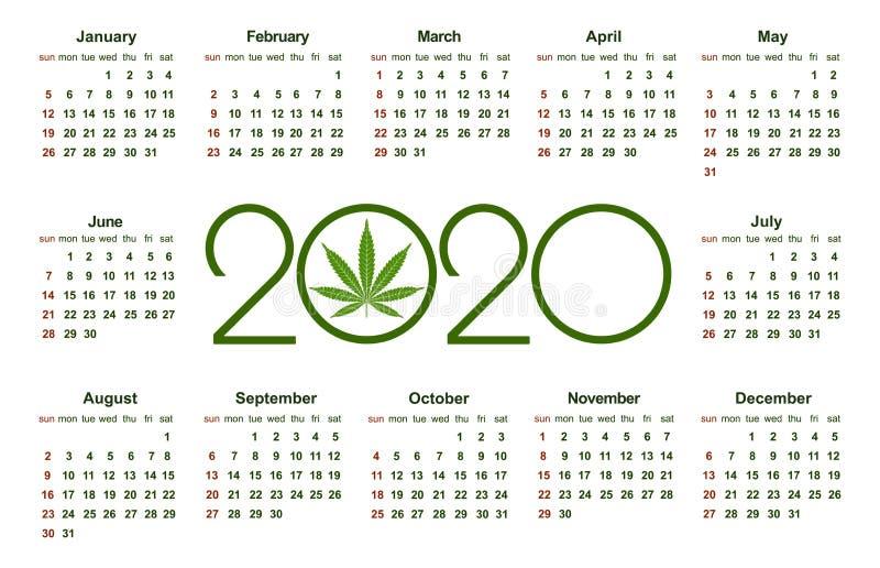 大麻日历在2020年 医疗大麻 简单的传染媒介模板 文具设计模板 在白色