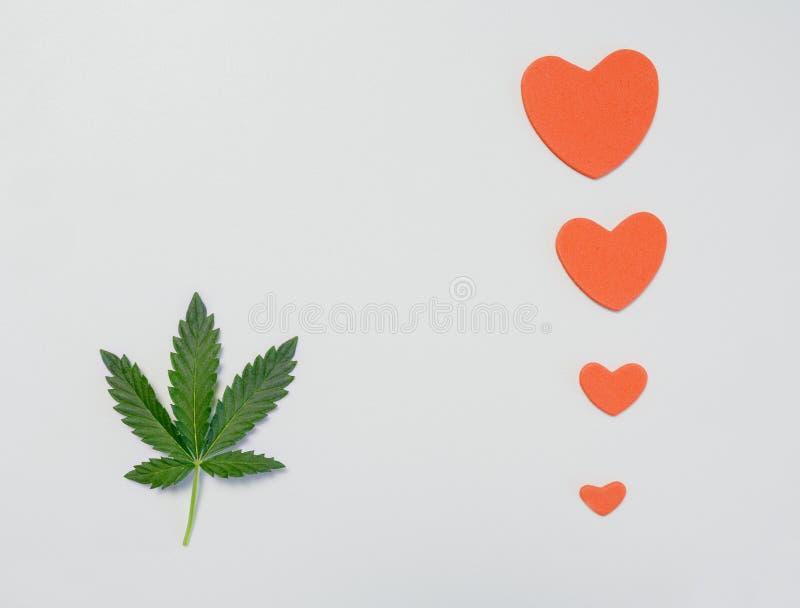 大麻的一片在白色背景的叶子或大麻与心脏 免版税库存照片