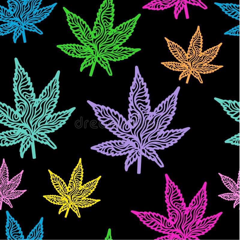 大麻离开无缝的霓虹颜色 库存图片