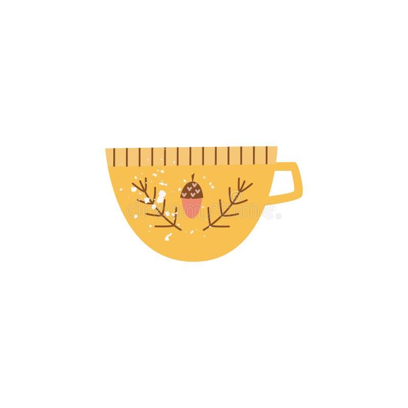 大黄色陶瓷杯子或杯子在平的动画片样式 库存例证