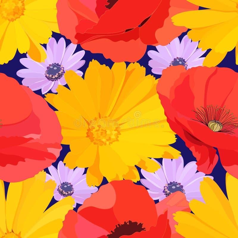大黄花、红罂粟的鲜花无缝图案,蓝色背景上鲜艳的紫花雏菊 向量例证