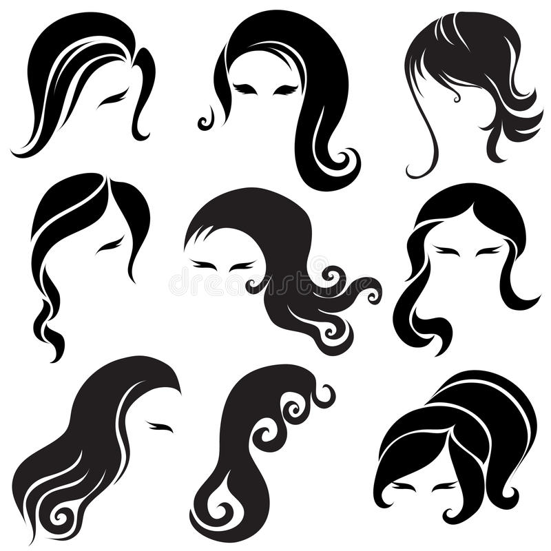 大黑发集合称呼的妇女 皇族释放例证