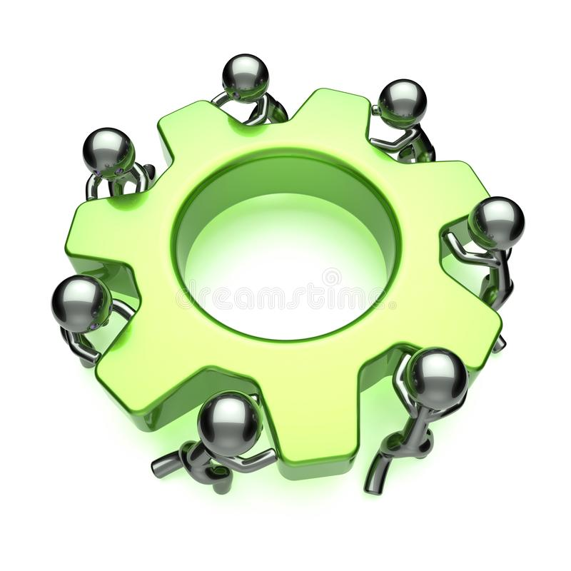 大齿轮合作,人力,人力资源字符 向量例证