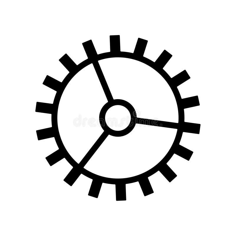 大齿轮在白色背景传染媒介的象黑色 向量例证