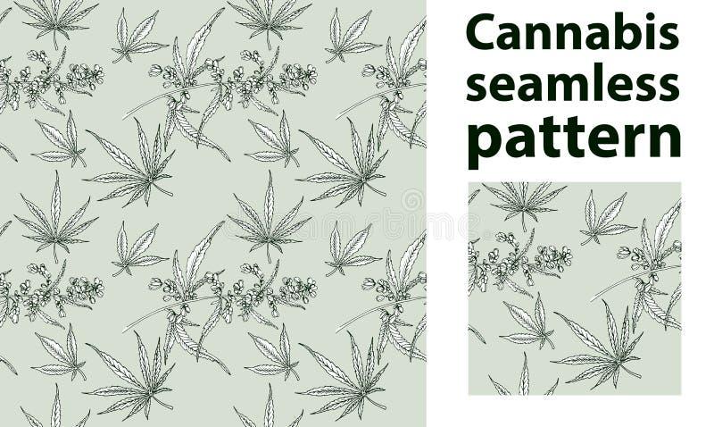 大麻叶子传染媒介无缝的样式 皇族释放例证