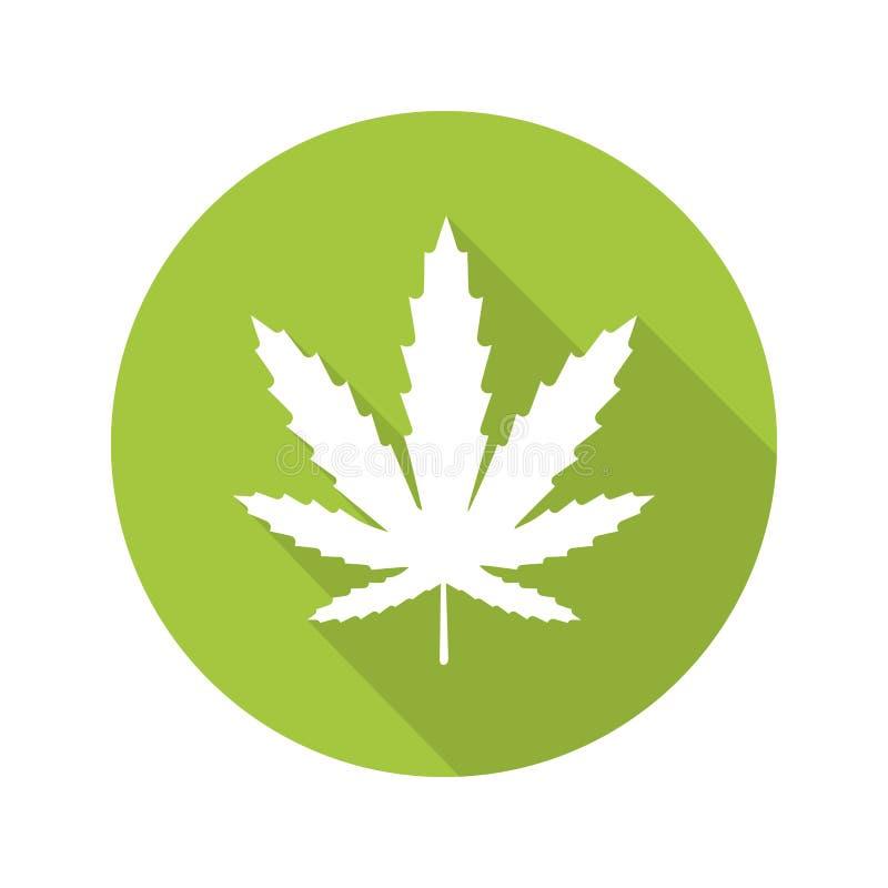 大麻叶子平的设计长的阴影象 库存图片