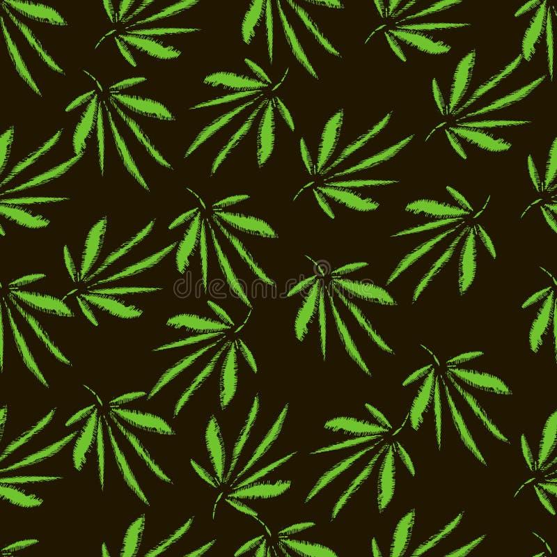大麻叶子 刺绣 手拉的传染媒介无缝的样式 向量例证