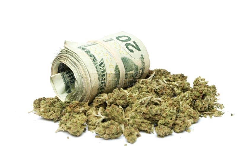 大麻和金钱 免版税库存图片