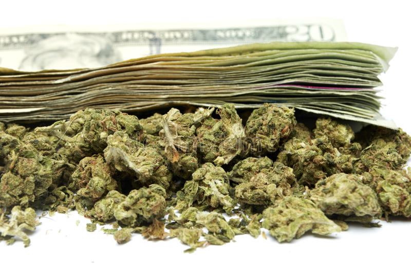 大麻和金钱 免版税库存照片