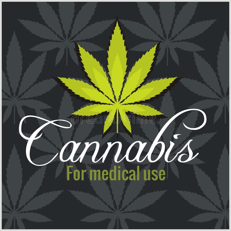 大麻-大麻 对医学用途 动画片重点极性集向量 库存例证