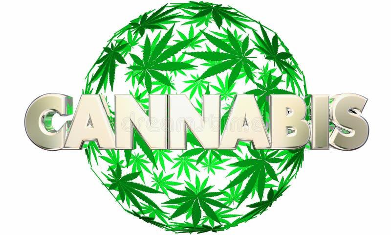 大麻大麻离开球形罐词 库存例证