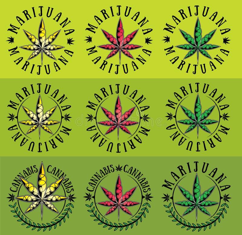 大麻大麻ganja叶子标志图表 皇族释放例证