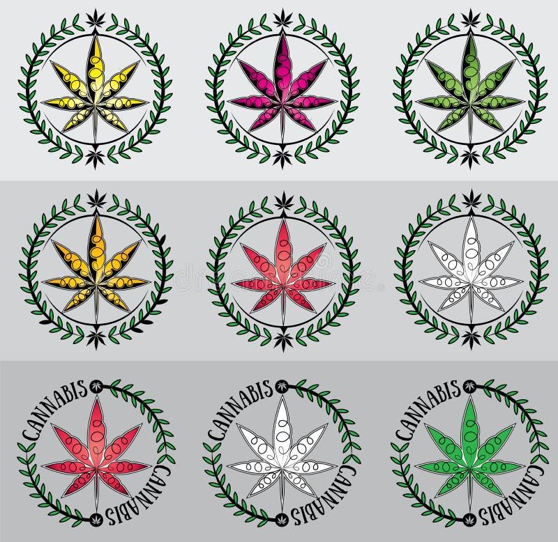 大麻大麻ganja叶子标志图表 向量例证