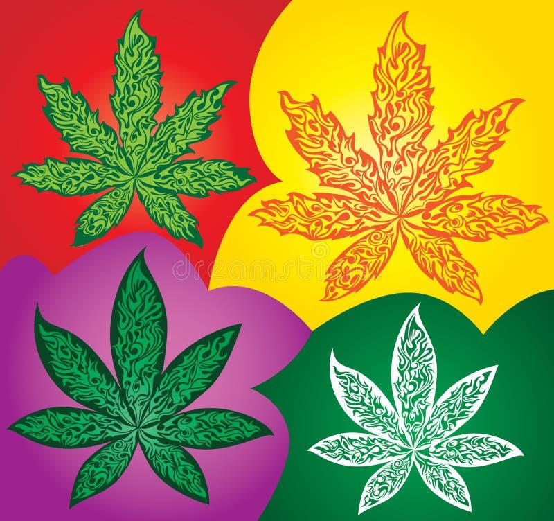 大麻大麻ganja叶子标志由火制成发火焰 皇族释放例证