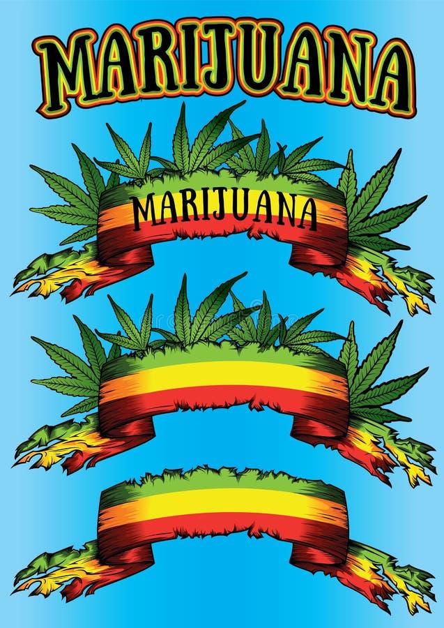 大麻大麻ganja牙买加旗子丝带广告牌 皇族释放例证
