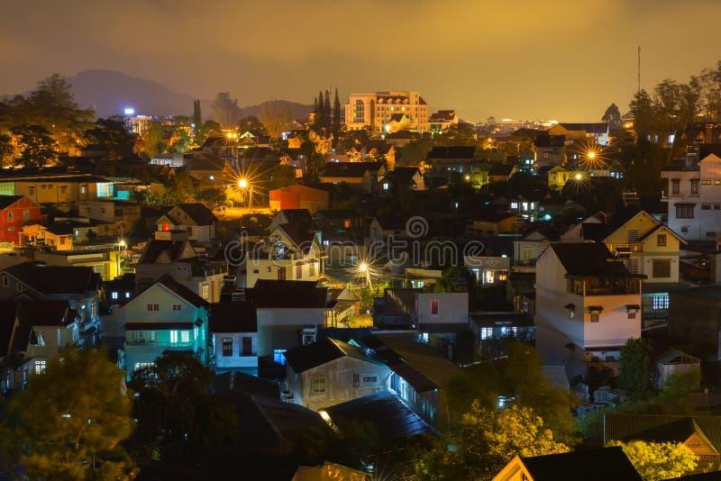 大叻市在晚上 库存照片
